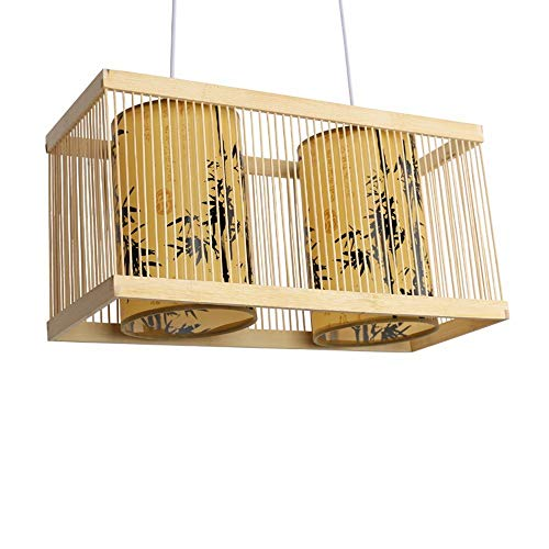 Oudan Lámpara Colgante Araña Vintage Shabby Japonés Bambú Tejido Linterna Bar Luces Restaurante Bambú Arte Lámparas, 50 * 20 * 25 cm