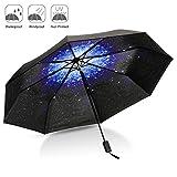 Paraguas Plegable, CAMTOA Creativo Cielo Estrellado 50+ Anti-UV Resistente al Viento Paraguas - Compacto y Portátil para viajar outdoor & diario de la vida uso.