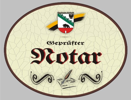Holzschild Notar - Schild Sachsen-Anhalt (18 x 14 cm) (Notar Holz)