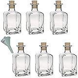 Viva-Haushaltswaren - Juego de botellas de cristal pequeñas (con tapón de corcho 6 unidades 200 ml rellenables incluye embudo de 7 cm de diámetro)