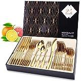 Bestickuppsättning, elegant liv silver set Dinner_Cutlery 24 Pieces Gold