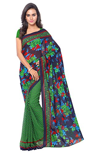 Triveni Womens Faux Georgette Printed Everyday Wear Green Colour saree with Blouse...