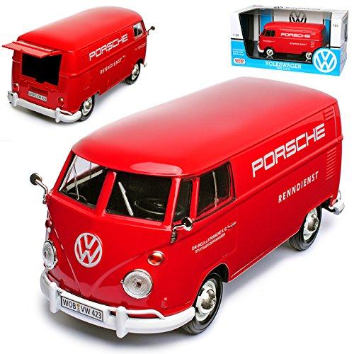 Motor Max MM79557 VW Volkswagen T1 Rot Kasten Transporter Porsche Renndienst Samba Bully Bus 1950-1967, Rot