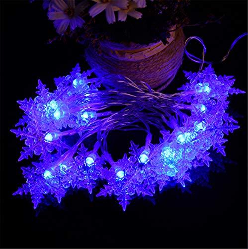 (UNIQUE-F Urlaub Lichterkette 20LED Hex Snow Battery Box Licht Weihnachtsdekoration (blau buntes Weiß - 3 Stück))