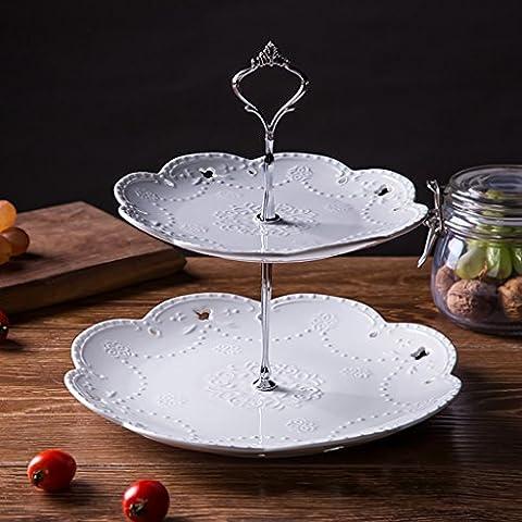 Emboss Obst Dessert Dish Keramik Süßigkeiten Kuchen Rack Tablett Schmetterling Kreativ ( Farbe : Weiß , größe : Zwei Schichten (Schmetterling Dish)