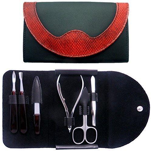 Set Manicura 6 Piezas en Piel Negro y Rojo - Tenartis 367 Made in Italy