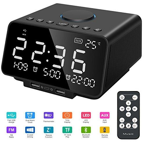 Radio-Réveil avec Alarme Haut-Parleur Radio numérique FM Son Stéréo Grand Affichage à Del Télécommande Heure/Date/Température avec Double Chargement USB/3,5 mm Aux/Micro SD/TF (Noir)
