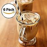 Amethya Set di bicchieri da tè, Tazze in vetro per tè e caffè, 355 ml (Set di 6 tazze)