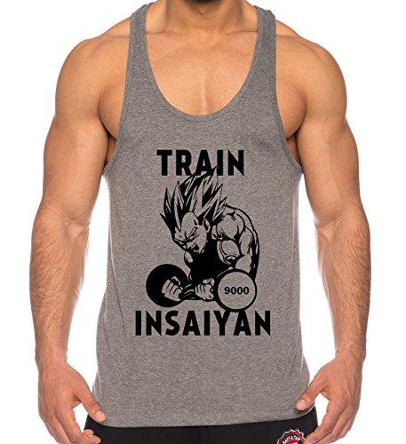ca26e3b60e THE LION Vegeta Train Insaiyan Camicia Muscolare Canotta da Uomo One Goku  Dragon Master Son Ball Vegeta Turtle Roshi Piece Gym, Farbe2:Grau;Größe2:M