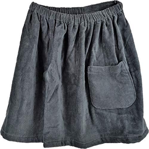 Herren Saunakilt 100% Baumwolle grau Größe 50 x 95 - 150 cm