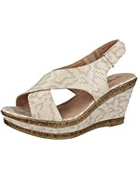 5e6eca389e78 Ladies Cushion Walk Wide E Fit Leather Lined Wedge Peep Toe Strappy Summer  Sandal Size 3
