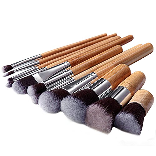 BlueCookies Kit De Pinceau Maquillage Professionnel 11PCS Bambou Eyebrow Shadow Blush Fond De Teint Anti-Cerne