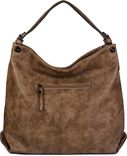 styleBREAKER borsa da shopping borchiata e morbido motivo ornamentale, borsa da spalla, borsa a tracolla, donna 02012197, colore:Nero Marrone
