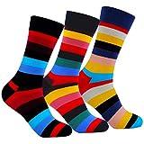 L&K 9 Paar Herren Bunte Socken Streifen feine gekämmte Baumwolle Funsocken 2213 43-46