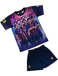 Ensemble Maillot + short Barça - NEYMAR MESSI SUAREZ XAVI INIESTA - Collection officielle FC BARCELONE - Taille enfant garçon