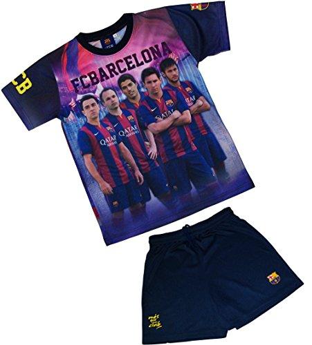 Fc Barcelone Ensemble Maillot + short Barça - NEYMAR MESSI SUAREZ XAVI INIESTA - Collection officielle Taille enfant garçon