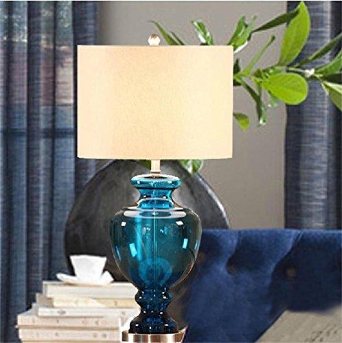 Uncle Sam LI- Amerikanische Minimalist Glas Tischlampe, Stoffschirm, Zimmer Lampe Schlafzimmer Wohnzimmer - Stoffschirm Glas