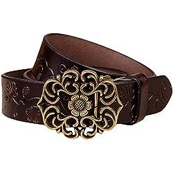 Fastar mujer cinturones de piel nueva moda de aleacion floral vintage accesorios cinturon de cuero (Café)