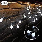 LED Globe Guirlande lumineuse,2 x 10 Mètres / 33FT 60 LEDs 8 modes port USB Décoration intérieur et pour Mariage Soirée Maison (Blanc froid)