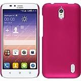 PhoneNatic Case kompatibel mit Huawei Y625 - Hülle pink gummiert Hard-case + 2 Schutzfolien