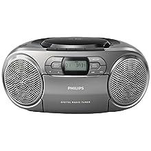Philips Audio Portable CD radio recorder AZB600/12 portable CD player (Dynamic Bass Boost, DAB+, CD/tape deck, 3.5-mm audio input) Dark silver