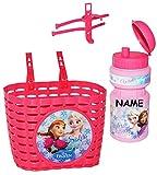 alles-meine.de GmbH 2 TLG. Set _ Fahrradkorb & Trinkflasche -  Disney Frozen - die Eiskönigin  - incl. Name - Flasche mit Halterung - Befestigung für Lenker vorn - Fahrrad Kind..