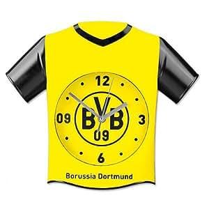 bvb 09 borussia dortmund wanduhr trikot uhr fanartikel fussball sport freizeit. Black Bedroom Furniture Sets. Home Design Ideas