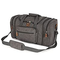 Plambag Mens Canvas Holdall Duffel Bag Large Travel Weekend Shoulder Handbag 50L Light Grey