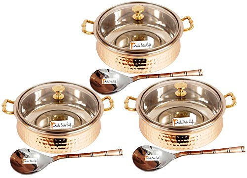 Set of 3 Prisha India Craft ® High Quality Handmade Steel Copper Casserole with Lid and Serving Spoon - Set of Copper Handi and Serving Spoon - Bowl Dia - 5.00