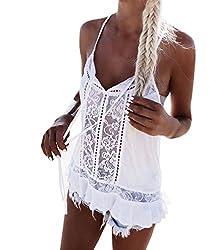 Bluester Women Sleeveless Lace Chiffon Summer T-Shirt Blouse Vest Casual Tank Tops