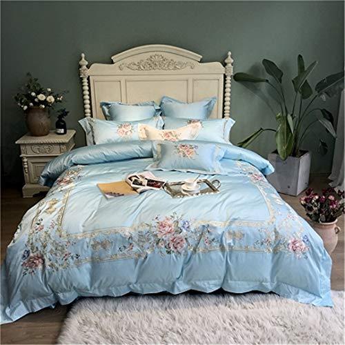 e Luxus Stickerei Weiß Bettwäsche Set Königin King Size Bettdecke Bettbezug Bettlaken Set Bedding Set 3 Queen Size 7pcs ()