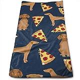 Wodann Vizsla Pizza Dog Dogs Pizza Design Serviettes Vizslas Essuie-Mains Torchon Serviette en Lin Floral 11.8'x 27.5'