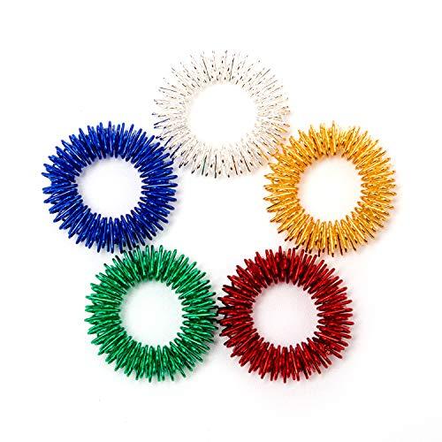 Savita Spiky Sensorische Finger Akupressur Ringe Fingermassagering Massageringe Stress Abbauen Therapieknete für Kinder Jugendliche & Erwachsene, 5 helle Farben(5 Pack) -