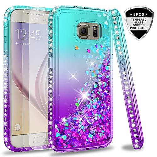 LeYi Hülle Galaxy S6 Glitzer Handyhülle mit Panzerglas Schutzfolie(2 Stück),Cover Diamond Rhinestone Bumper Schutzhülle für Case Samsung Galaxy S6 Handy Hüllen ZX Gradient Turquoise Purple -
