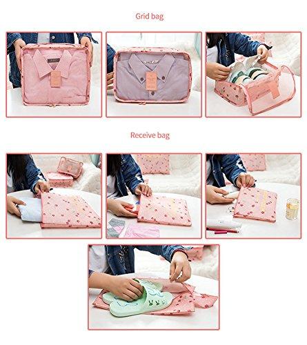 Belsmi Reise Kleidertaschen Set 7-teilig Reisetasche in Koffer Reisegepäck Organizer Kompression Taschen Kofferorganizer Mit Schuhbeutel (Rosa Dot)