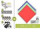 RGB LED Panel 62x62cm 48W 24V mehrfarbig bunt RGB Farben einstellbar dimmbar, mit Fernbedienung, Wand- und Deckenhalter, Seilaufhängung und Klammern als Einbau- Aufbauleuchte, Pendelleuchte Komplettset von LongLife LED GmbH by HK