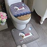 NMDSWEZ Pony Wildleder Cartoon Rutschfest Absorbent Toilettenpapier Toilette U Bodenmatte Fuß Pad, U Typ 45 * 50
