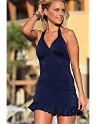 Jupe de bikini de couleur unie des femmes européennes et américaines suspendus cou pièce maillots de bain