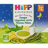 Hipp Biologique Soupes Légumes Verts Petites Pâtes dès 12 mois - 10 Briques de 250 ml