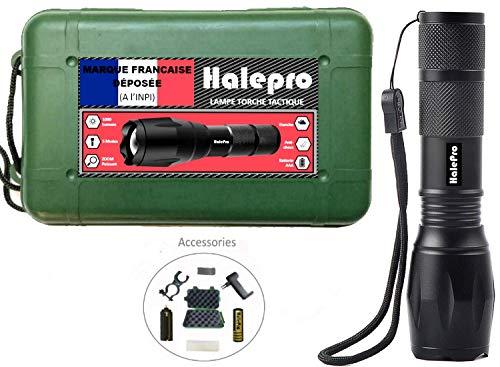 Halepro Torche Lampe de Poche LED, Rechargeable Torche LED-Lampe de Vélo,Lampe de Torche Militaire...