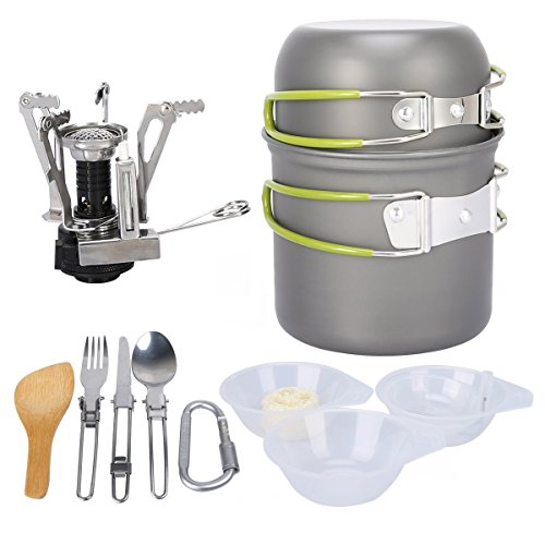 G4Free – Juego de utensilios de cocina para acampada, Green-13 PC
