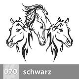 Premiumsticker24 Wandtattoo 3 Pferdeköpfe 2 | Schlafzimmer Wohnzimmer Kinderzimmer Aufkleber selbstklebend Wand, 115cm x 110cm, 070 schwarz
