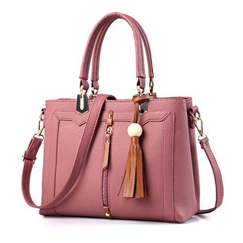 Auspicious beginning Perline nappa Borse a tracolla grande capacità di legno per le signore rosa di gomma