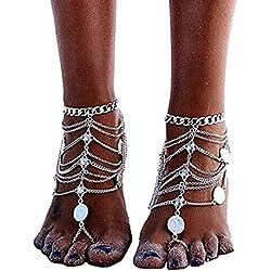 1 accoppiamenti Boho Vintage Silver Coin Blessing Simbolo nappa Calze piede per le donne nappa catena Gioielli Bohemian (argento)
