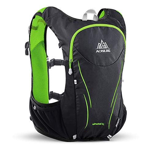 AONIJIE Hydration Pack Rucksack 5 Liter Marathoner Laufen Race Hydration Weste Laufen Wanderrucksack mit Trinkrucksack, schwarz/grün, L-XL