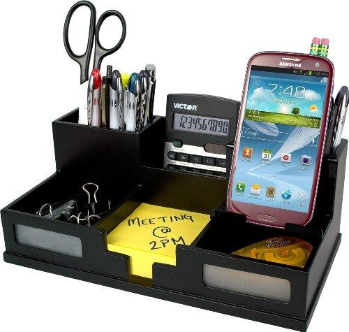 Preisvergleich Produktbild Midnight Black Desk Organizer with Smart Phone Holder by Victor