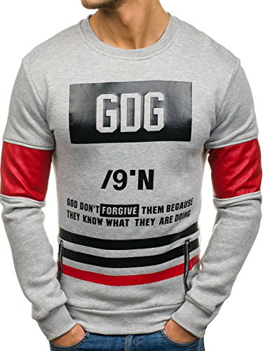 BOLF Herren Sweatshirt Langarmshirt Pullover Longsleeve Classic Mix 1A1  Grau 819 21bd03d87f