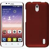PhoneNatic Case kompatibel mit Huawei Y625 - Hülle rot gummiert Hard-case + 2 Schutzfolien