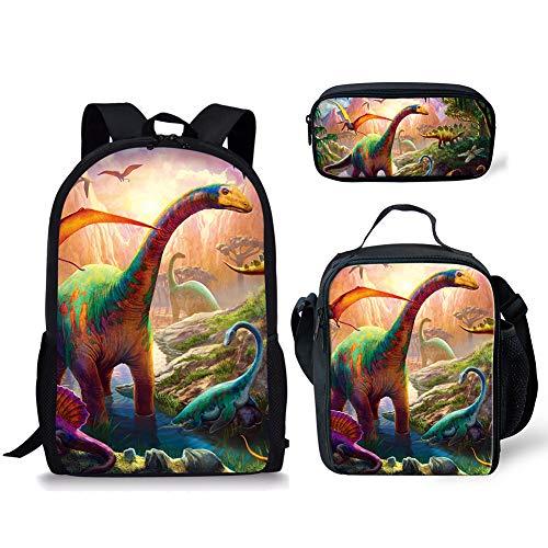 POLERO Rucksack mit Federmäppchen & Schulranzen, Game Fans Geschenke, Studenten Bookbag Laptop-Rucksack-Spielraum-Computer-Beutel für Jungen, Mädchen, Kinder Teens Tyrannosaurus Rex Printed