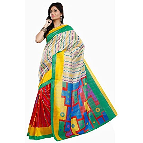 Triveni Women's Indian Traditional Red Printed Art Silk Saree Sari with Stitched Blouse
